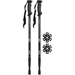 Hiking cane adjustable Abbey 21SV anti shock Black/red