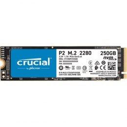 Crucial SSD P2 250 GB, SSD form factor M.2 2280, SSD interface PCIe NVMe Gen 3, Write speed 1150 MB/s, Read speed 2100 MB/s