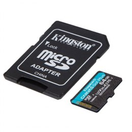 Kingston microSD Canvas Go! Plus 64 GB, MicroSD, Flash memory class 10, SD Adapter