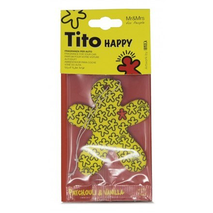 Mr&Mrs Tito Happy Car air freshner 	JTITOPAP01V00 Scent for Car, Patchouli&Vanilla, Yellow
