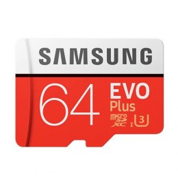 Samsung microSD Card Evo Plus 64 GB, MicroSDXC, Flash memory class 10, SD adapter