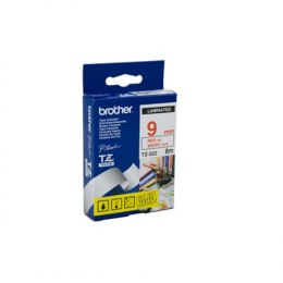 Brother TZe-222 Laminated Tape Red on White, TZe, 8 m, 9 mm
