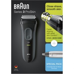 Braun Shaver + Trimmer 3000VS + EN10 Cordless, Charging time 1 h, Operating time 45 min, Nose trimmer included, Accumulator, Bla