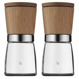 WMF 2-Piece Salt and Pepper/Spice Mill Housing material Wood/Glass, Ceramic grinding mechanism. Adjustable grind from coarse to