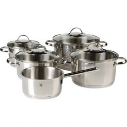WMF Cookware set 5-piece, 4 pots (16/2x20/24 cm), 1 stewing pan (16 cm) Provence Plus Cromargan stainless steel 18/10, Stainles
