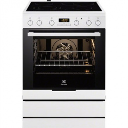 Electrolux EKC6450AOW Cooker/Oven, Integrated timer, Hob type Vitroceramic, Oven type Electric, White, Width 60 cm, Electronic i
