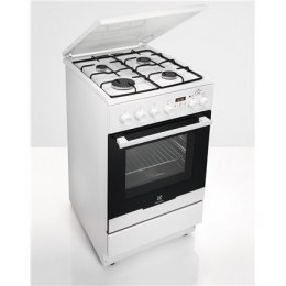 Electrolux Cooker EKK54950OW Hob type Gas, Oven type Electric, White, Width 50 cm, Electronic ignition, Grilling, LCD, 58 L, Dep