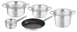 TEFAL Simpleo Set of pots, 4 pots + 4 pot lids + 1 pan B815S974 1, Stainless steel, Stainless steel, Dishwasher proof, Lid inclu