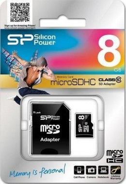 Silicon Power 8 GB, MicroSDHC, Flash memory class 10, SD adapter