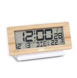 ADE Radio-controlled alarm clock CK1703 Auto-flip clock, Display LCD, 12/24 hrs, Genuine bamboo and high-quality ABS plastic, Wh