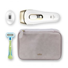Braun PL5124 IPL Epilator, Corded, 400.000 flashes, With precision head, Venus razor and cosmetic bag, White/Gold