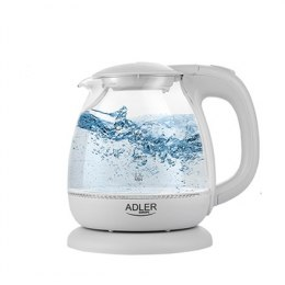 Adler AD 1283G Kettle, Electric, Power 1100 W, Capacity 1 L, Glass, White
