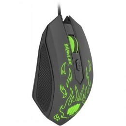 FURY Brawler Optical Gaming mouse, 1600DPI, Wired, Black/Green