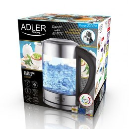 Adler Kettle AD 1247 NEW With electronic control, 1850 - 2200 W, 1.7 L, Stainless steel, glass, Stainless steel/Transparent, 360