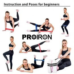 PROIRON Exercise Resistance Bands Set Lifting Straps, 60 x 5 cm, 5 pcs. (Yellow: X-light, Green: Light, Blue: Medium, Red: Heavy