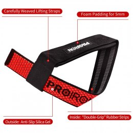 PROIRON Weight Lifting Strap Black / Red, 60 x 3.8 cm