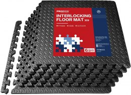PROIRON Exercise Mats Floor Protection Interlocking Mat Black, EVA Foam, 61 x 61 x 1.9, 6 puzzle mats + edge pieces