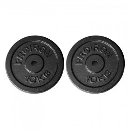 PROIRON PRKISP10K Weight Plates Set, 2 x 10 kg, Black, Solid Cast Iron