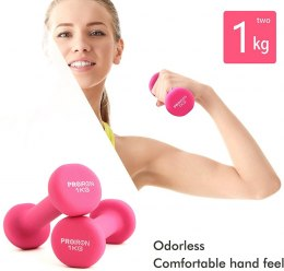 PROIRON PRKNED01K Dumbbell Weight Set, 2 pcs, 1 kg, Pink