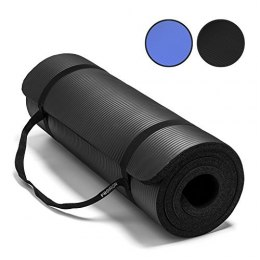 PROIRON Pilates Mat Gym Mat, 180 x 61 x 1.5 cm; Rolled up diameter: 15-20 cm, Black, Rubber Foam