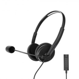 Energy Sistem Headset Office 2+ Black, USB and 3.5 mm plug, volume control, retractable boom mic.