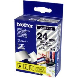 Brother TZE-151 Laminated Tape Black on Clear, TZe, 8 m, 2.4 cm