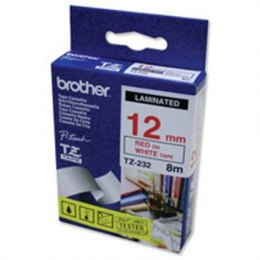Brother TZe-232 Laminated Tape Red on White, TZe, 8 m, 1.2 cm