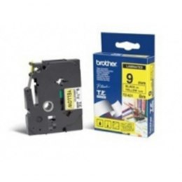 Brother TZe-621 Laminated Tape Black on Yellow, TZe, 9 mm, 8 m