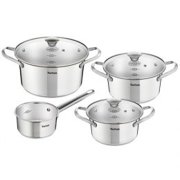 TEFAL Simpleo Set of pots, 4 pots + 3 pot lids B907S774 1.45/ 2/ 2.77/ 4.8 L, 16/ 18/ 20/ 24 cm, Stainless steel, Stainless stee