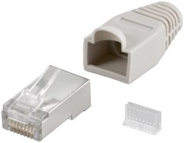 Goobay 68746 RJ45 plug, CAT 5e STP shielded with strain-relief boot, grey